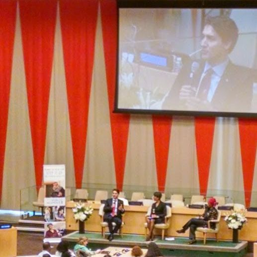 Prime Minister Justin Trudeau and Phumzile Mlambo-Ngcuka speak at the UN