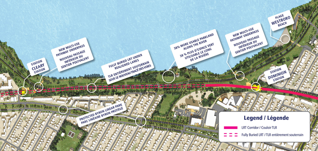 This is a map that shows the future Confederation Line West LRT extension alignment between Dominion and Cleary Stations. It provides a synopsis of the key features of the 100 Day Solution identified for this portion of the alignment and jointly announced by the City of Ottawa and National Capital Commission.