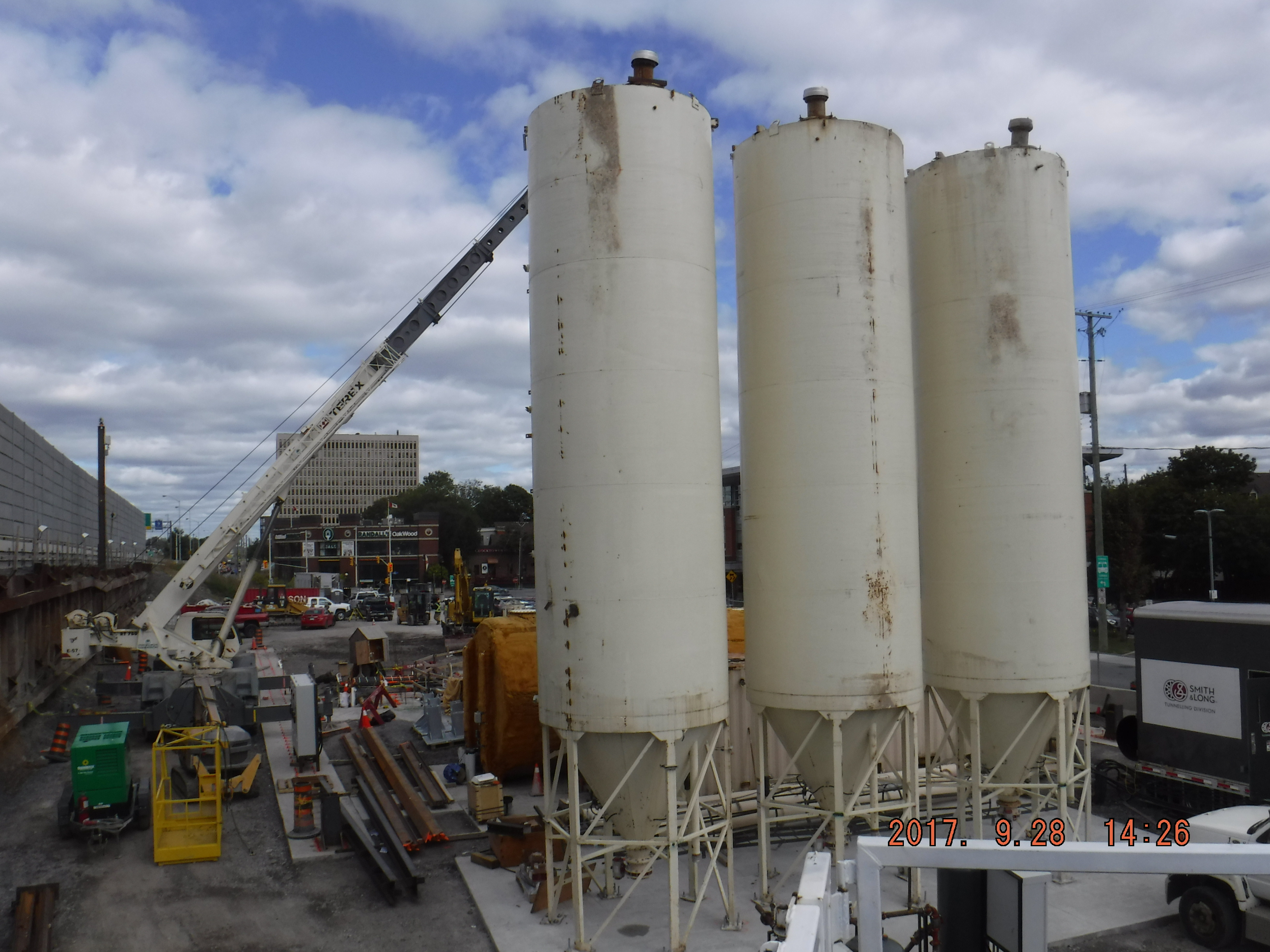 Grout plant silos used for pumping materials during tunneling