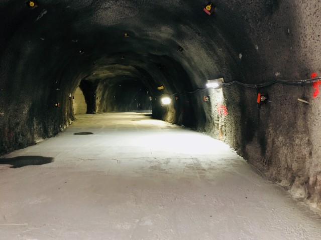 View inside the tail tunnel at the bottom of the 5A shaft showing concrete slab, installed to support tunneling operations.