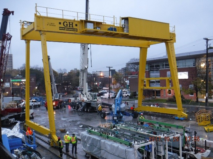 Gantry crane assembled for use during tunneling operations