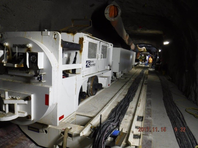 Tunnel Boring Machine (TBM) train inside of the tail tunnel