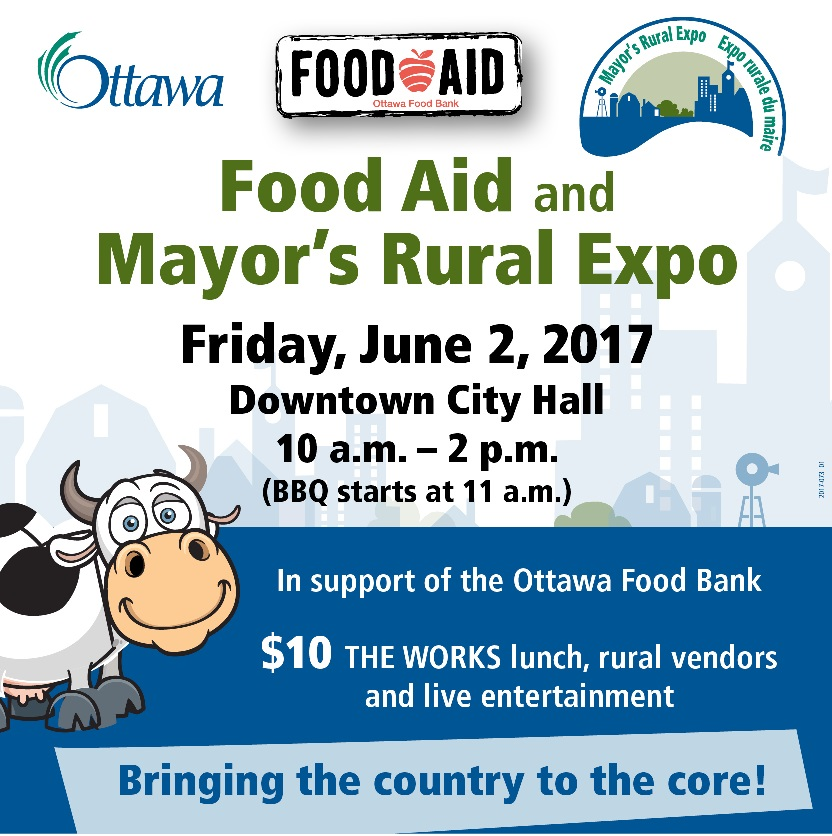 Food aid and Mayor's Rural Expo poster. Friday June 2, 2017. Downtown City Hall 10 a.m. to 2 p.m.