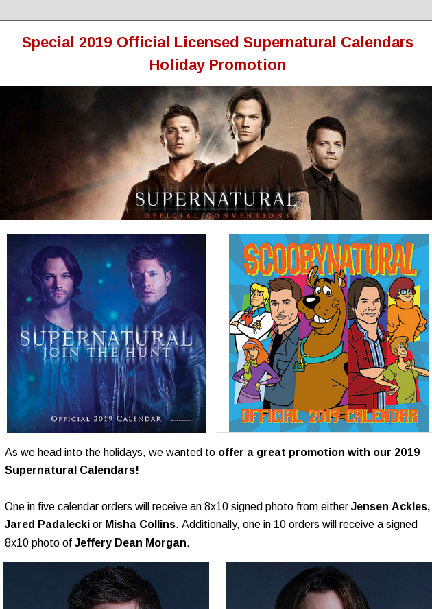 Special 2019 Official Licensed Supernatural Calendars Holiday