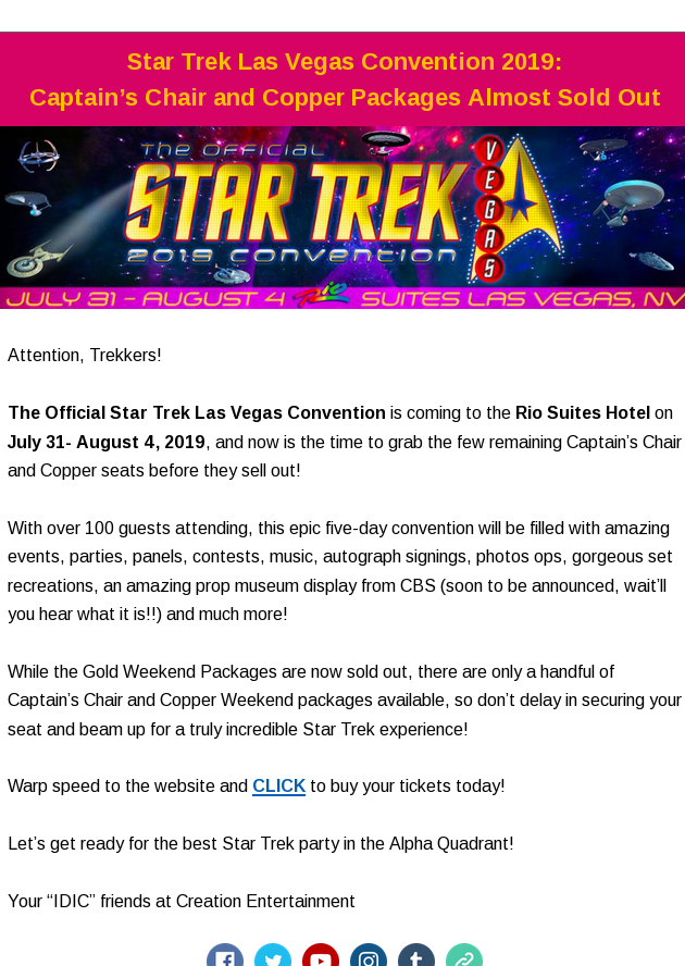 Star Trek Las Vegas Convention 2019 Captain S Chair And Copper Packages Almost Sold Out