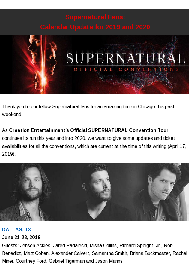 Supernatural Calendar 2020 Supernatural Fans: Calendar Update for 2019 and 2020