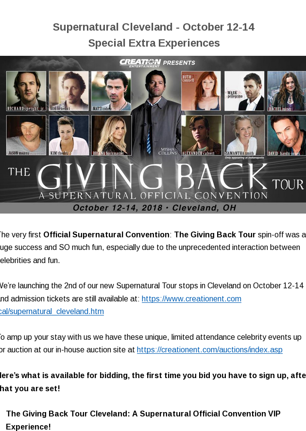 Supernatural Cleveland, October 12-14, Special Extra Experiences