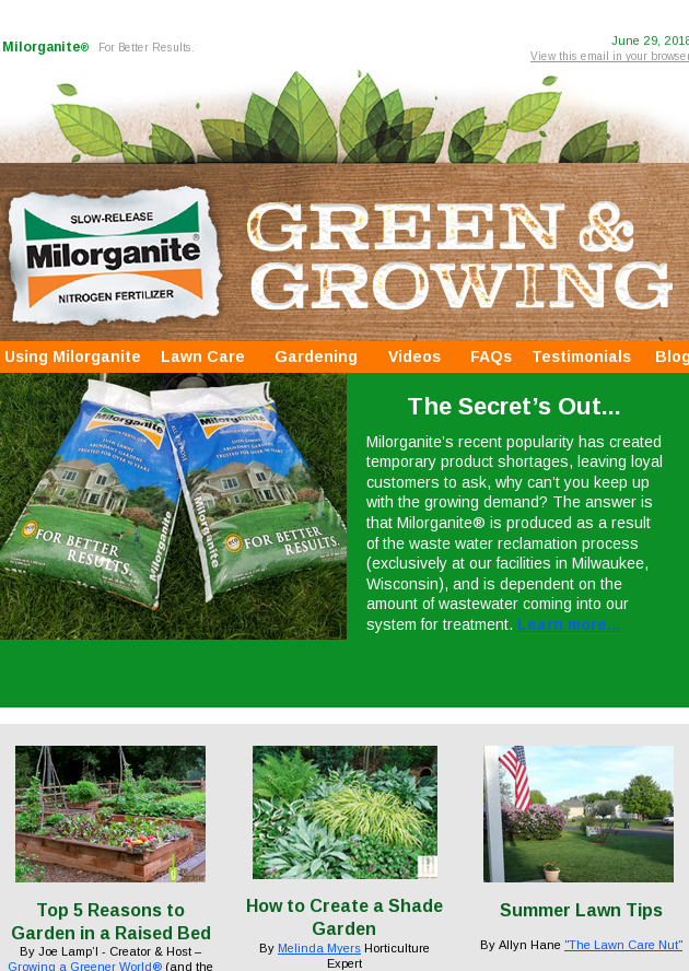 The Secret's Out: Milorganite Shortage