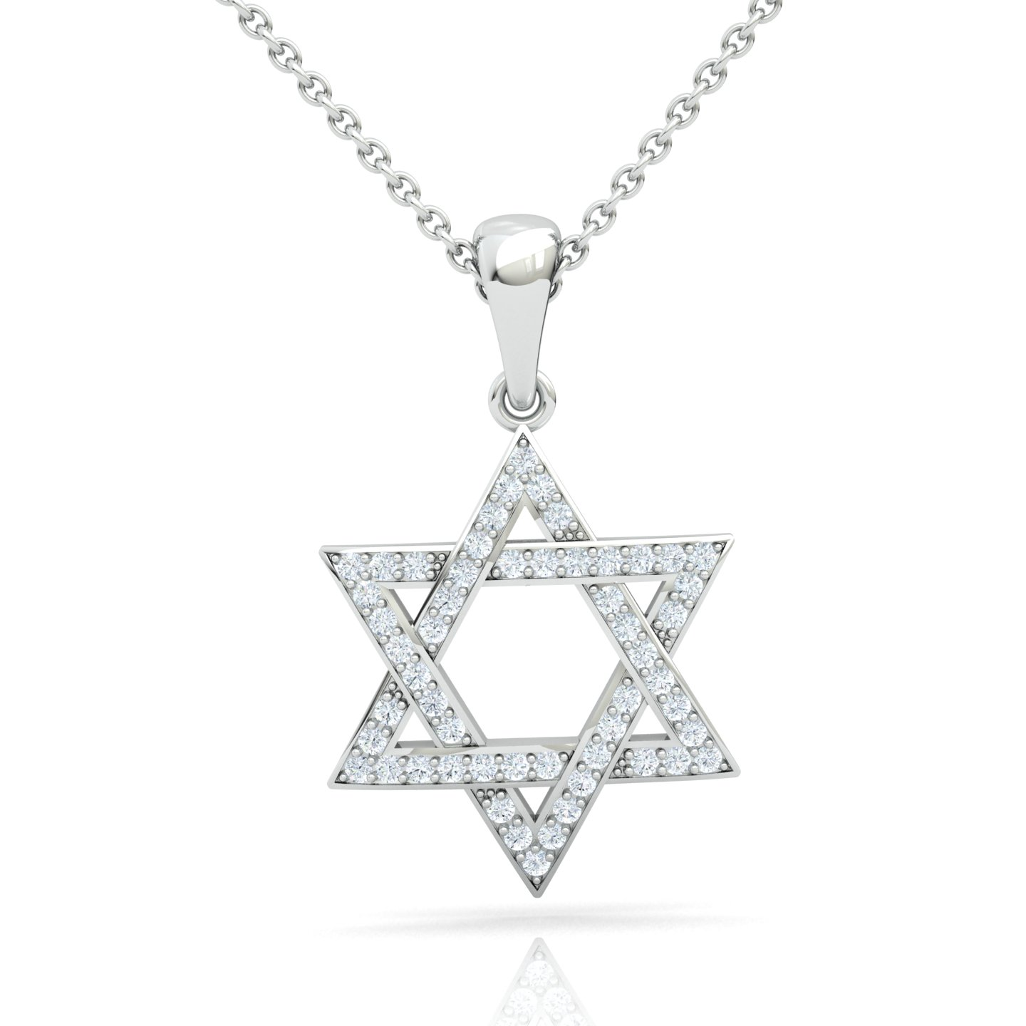 Interwoven Star of David Adorned With Diamonds Gold Pendant
