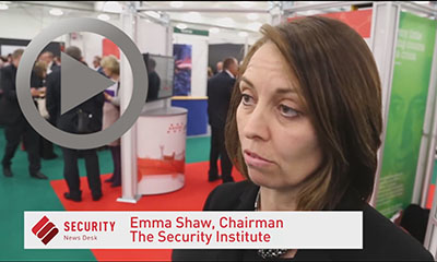 Emma Shaw, chairman, The Security Institute, being interviewed at Counter Terror Expo 2014