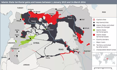 Islamic State lost 22 percent of Territory in past 15 months