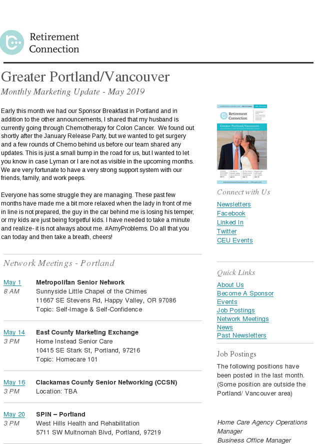 Monthly Marketing Update - Portland/Vancouver - May 2019
