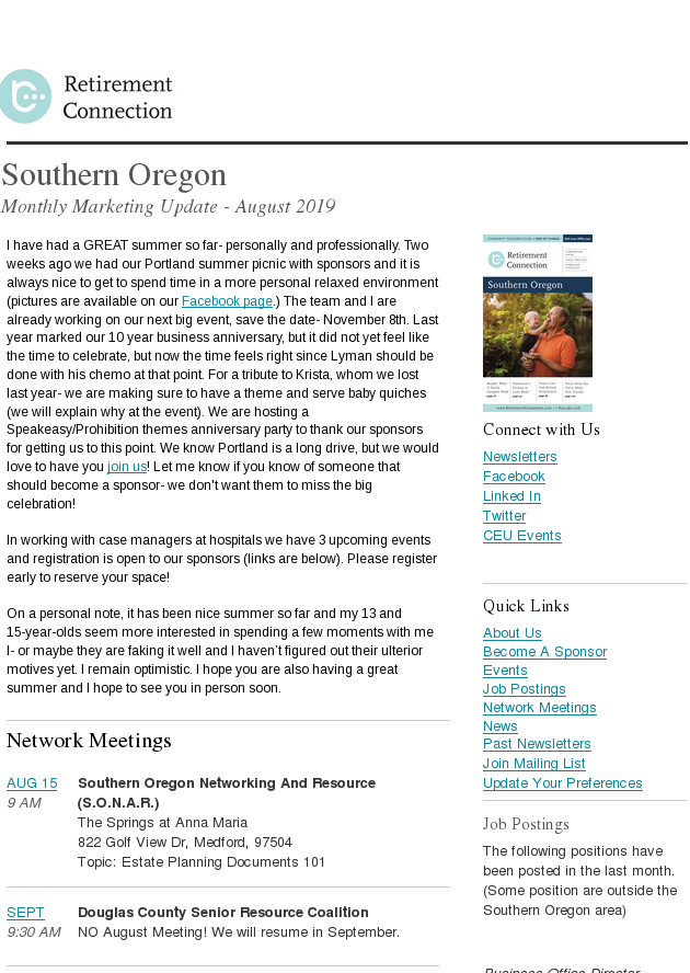 Monthly Marking Update Southern Oregon August 2019