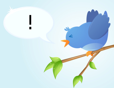 Twitter bird exclamation point