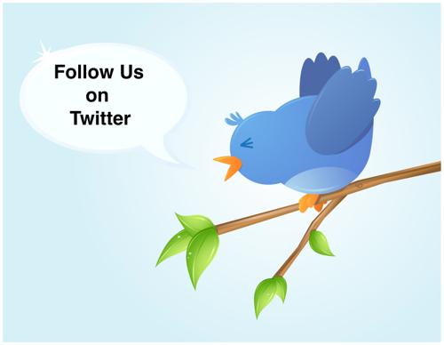 Tweeting bird Follow Us