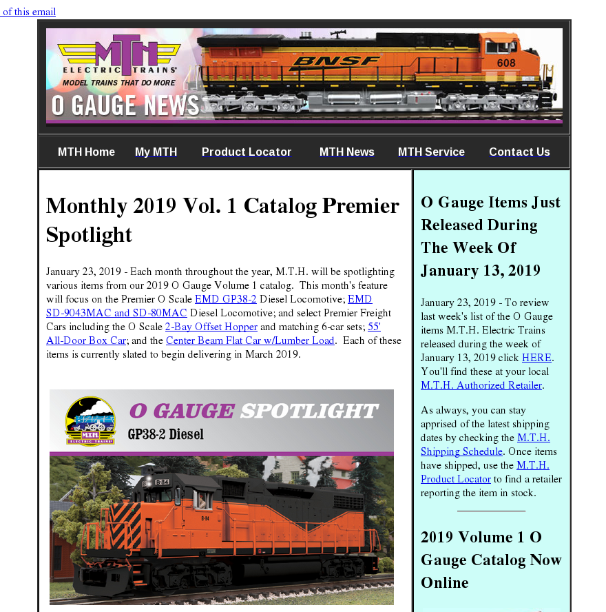 MTH Electric Trains O Gauge Newsletter - January 23, 2019