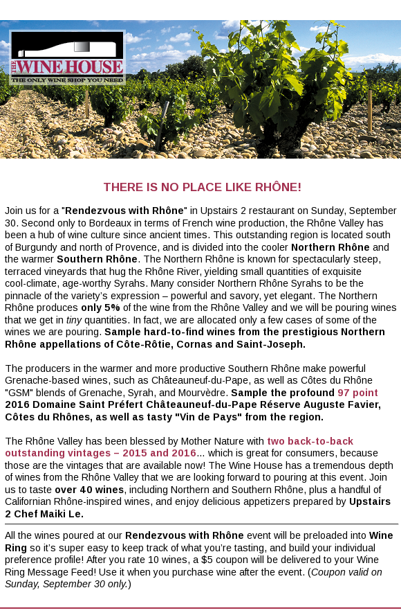 Come Rendezvous With Rhone on Sunday, 9/30 – Over 40 Wines!