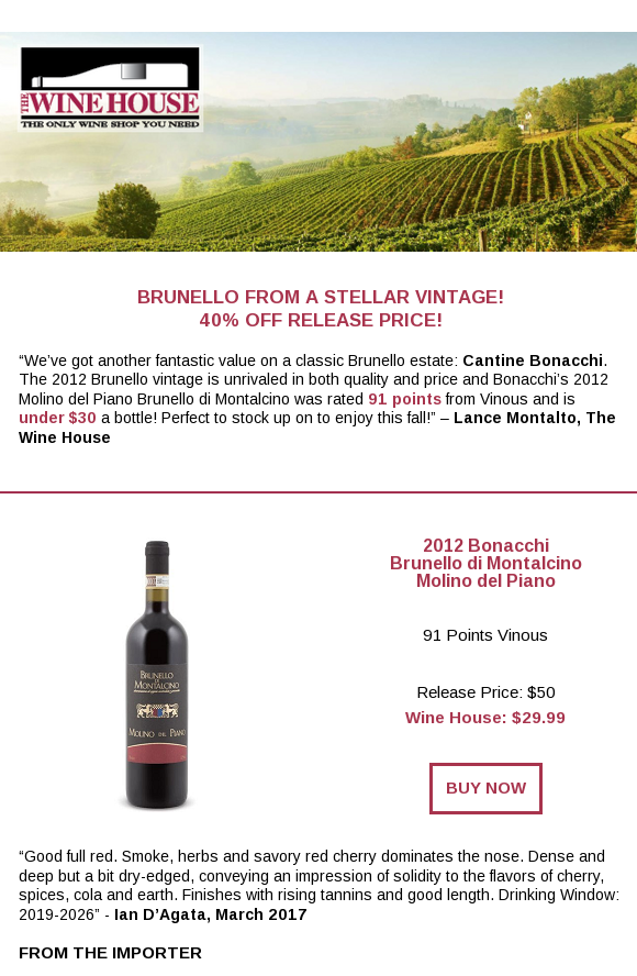 91 Point Mouthwatering Brunello Under 30