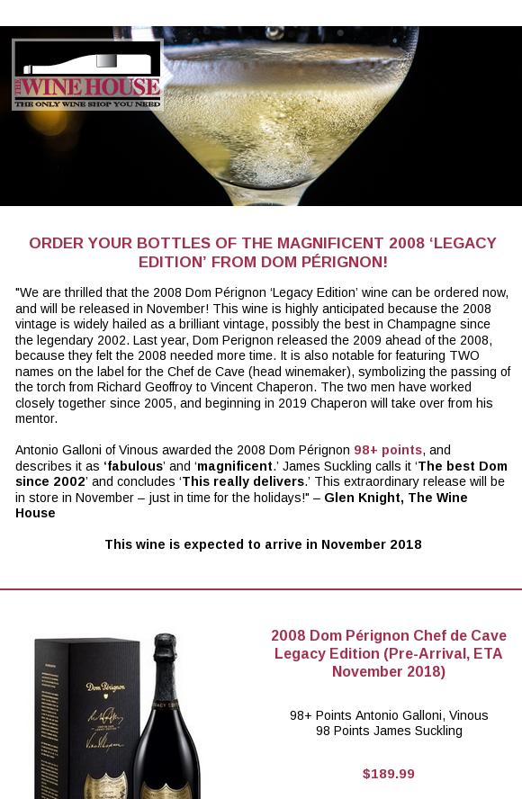 dom perignon 2008 legacy edition price