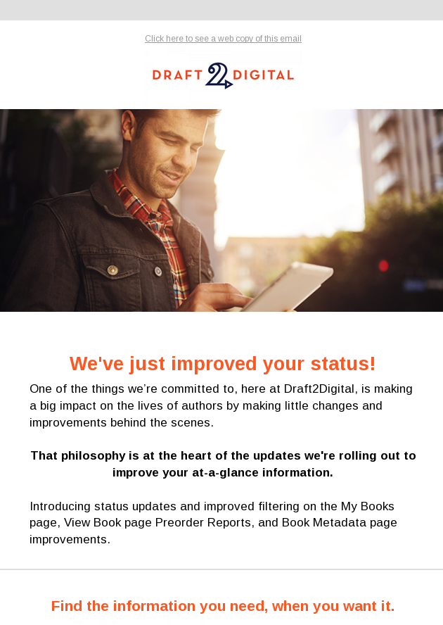 We've just improved your status!
