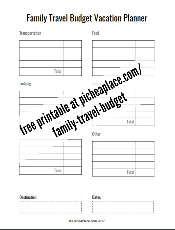 vacation budget worksheets