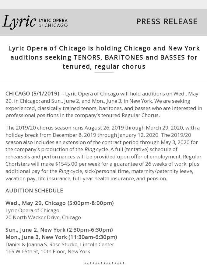 PRESS RELEASE: Lyric Opera of Chicago Holding Chicago and