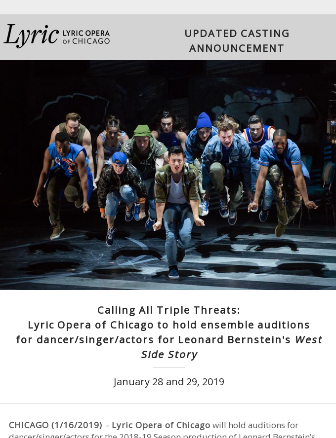 Lyric Opera of Chicago to hold ensemble auditions for dancer/singer