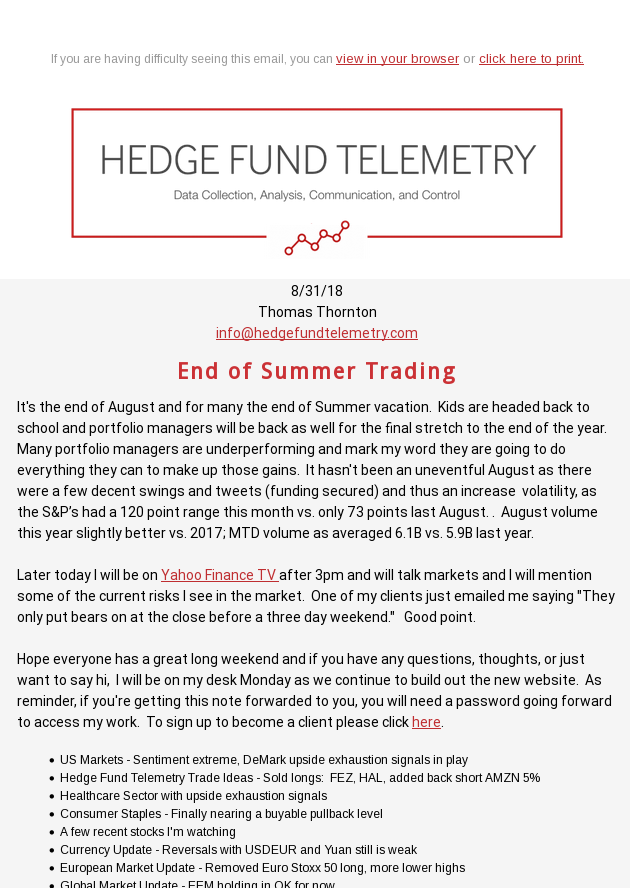End of Summer Trading