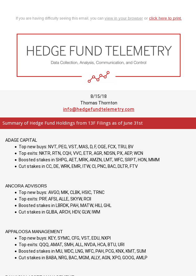 Hedge Fund Telemetry 13F Summary