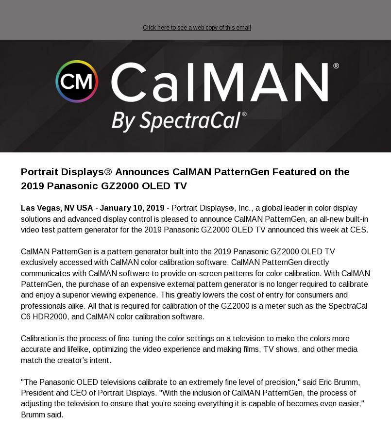 Portrait Displays® Announces CalMAN PatternGen Featured