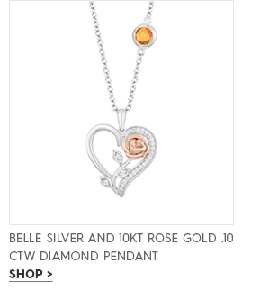 Belle silver and 10KT rose gold .10 ctw diamond pendant