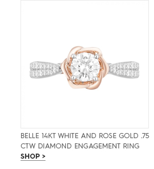 Belle 14KT white and rose Gold .75 ctw Diamond Engagement Ring