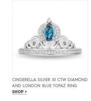 Cinderella silver .10 CTW diamond and London blue topaz ring