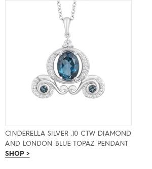 Cinderella silver .10 CTW diamond and London blue topaz pendant