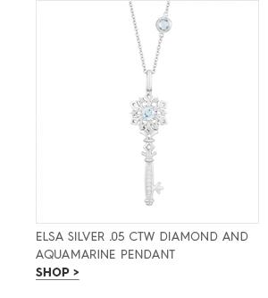 Elsa silver .05 CTW diamond and aquamarine pendant