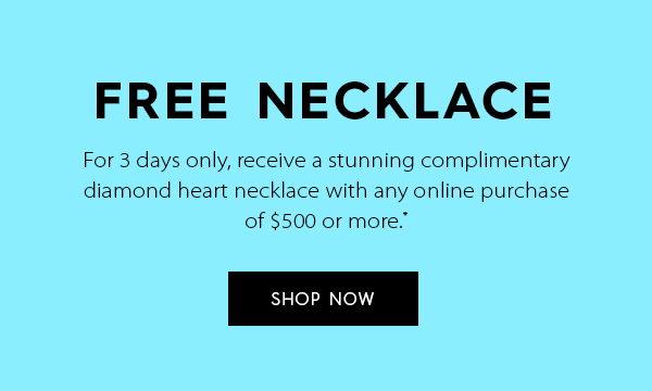 Free necklace with any purchase of $500 or more.