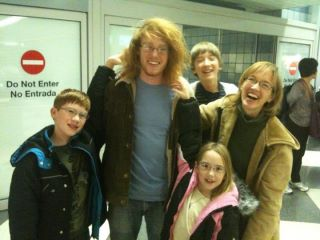 Lucas and family at the airport